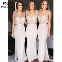 2018 Mermaid Bridesmaid Dresses Long V Neck Sweep Train Wedding Party Dress Tank Zipper Women Bridesmaid Dress