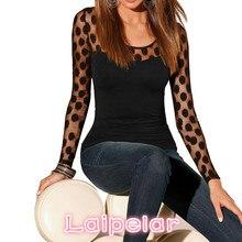 Laipelar Ladies Chiffon Shirt Fashion Sexy Tops For Women All-Match Womens Hollow Lace Tshirts Long Sleeves TShirt