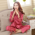 2016 Spring Summer Autumn Silk Women Pijamas Sets of Sleepcoat & Sleep Pants Lady Nightdress Female Casual Sleepwear Size 3XL