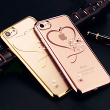 Love Heart Rose Gold Plating Glitter Diamond Phone Cases For iphone 7 Plus 6 6s Ultra Thin Soft TPU Silicone Crystal Clear Cover