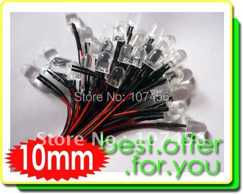 50pcs 10mm White LED Lamp Light Set 20cm Pre-Wired 12V Free Shipping