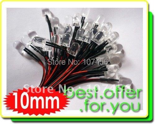 50pcs 10mm White LED Lamp Light Set 20cm Pre-Wired 12V Free Shipping