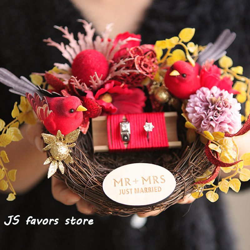 Free shipping 1pcs custom logo Double red bird's nest ring pillow engagement marriage proposal wedding decorate best girl gift