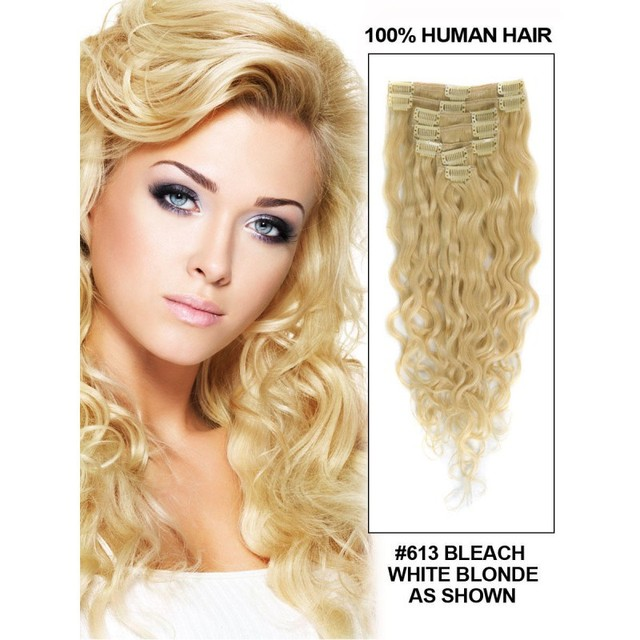 Human Indian French Wave Hair Clips In8 Piece Set Full Head Color White