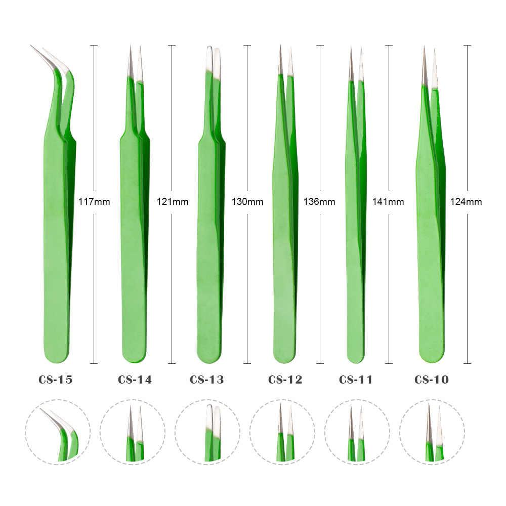 Яркие пинцеты для наращивания ресниц зеленый прямой изогнутый острый нержавеющая сталь Tweezers Точность Пинцет Набор