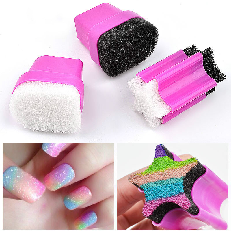 1pcs Nail Stamper Sponge Head with Rose Holder For Nail Polish Gradient Color Printing Stamping Nail Art Tools