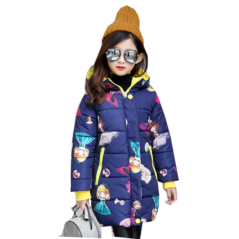 Girls Winter Long Floral Printed Down Parkas Coats and Jackets For Teenagers Kids Girls Clothes Clothing Overcoat Snowsuit 63 girl winter coats 2018 cat printing and jackets kids outwear warm down jacket girls clothes parkas children baby girls clothing