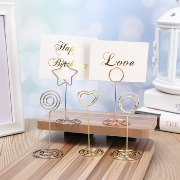 4 style Wedding Heart Photo Clip Table Number Stand Desktop Decoration Metal Place Card Holder Party Supplies