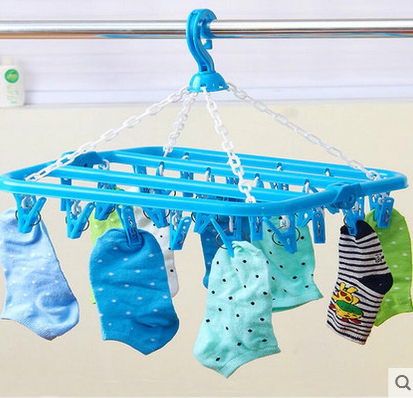 32klips plast henger sammenleggbar tørkestativ undertøy ramme - Hjem lagring og organisasjon