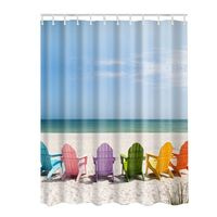 Ocean Decor Collection Starfish Seascape Sea Beach Picture Print Bathroom Set Fabric Shower Curtain With Hooks