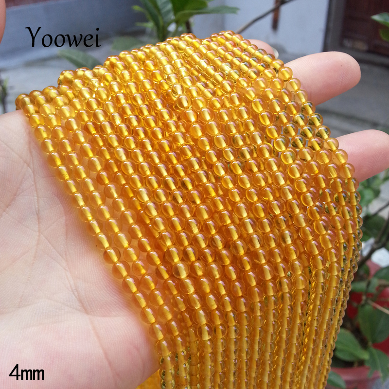 Yoowei Amber Loose Beads 3mm 4mm 5mm 6mm 7mm Baltic Natural Round Amber Bead Precious Stone for Diy Jewelry Bracelets Necklaces