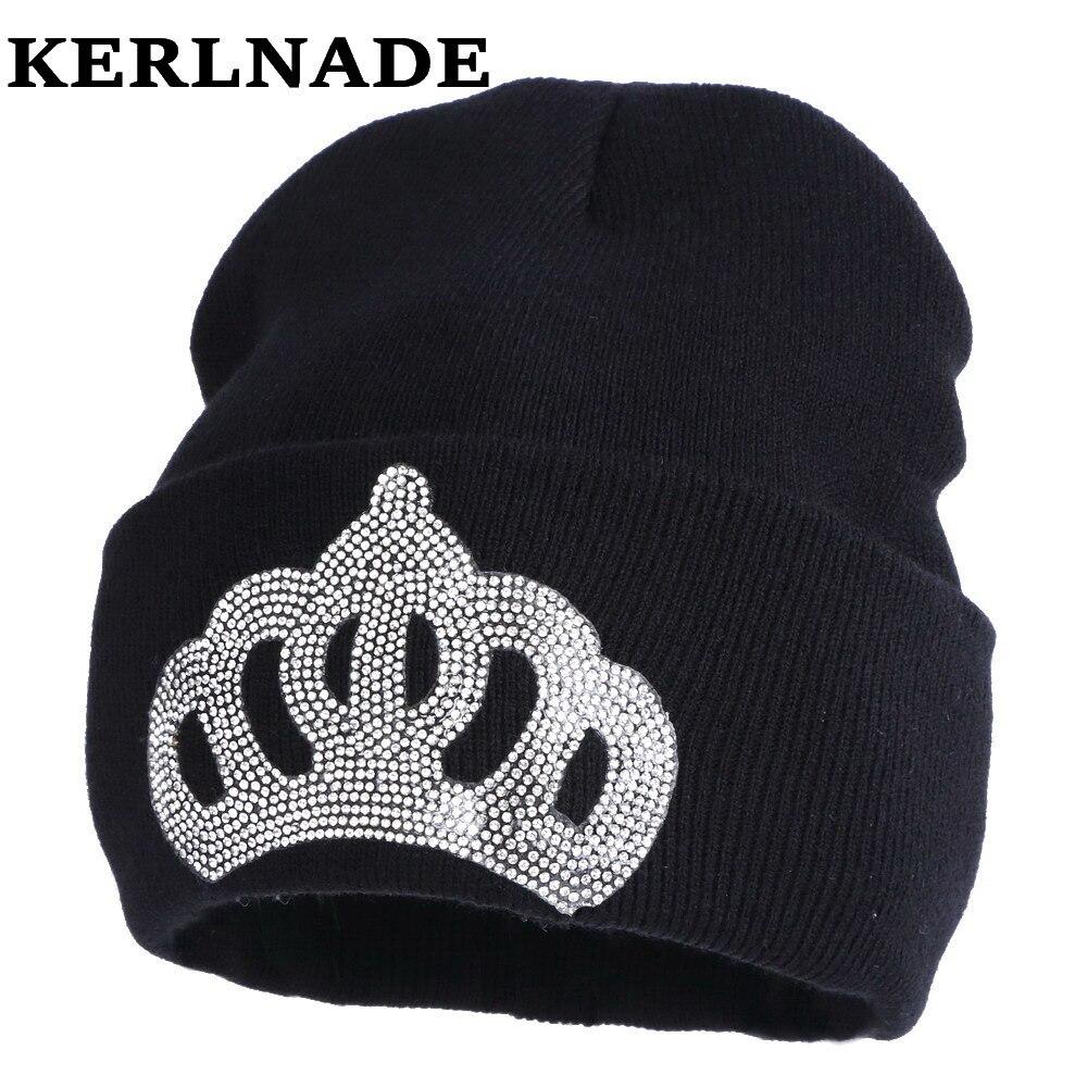 Mulheres por atacado chapéu do inverno moda casual menina coroa estilo  skullies gorros de cor sólida strass luxo mulher gorros chapéus d6434d28fc7