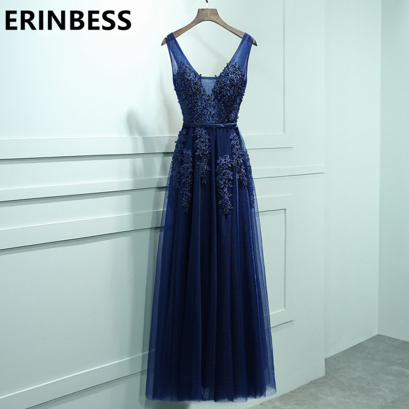 Sexy V Neck Lace Appliques Navy Blue Burgundy   Evening     Dresses   Sashes Prom Gowns 2018 Women Party Gowns Vestido De Festa