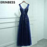 Sexy V Neck Lace Appliques Navy Blue Evening Dresses Sashes Prom Gowns 2017 Women Party Gowns