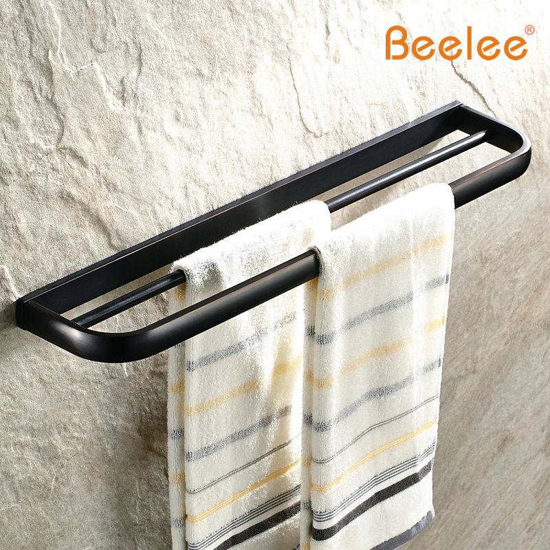 New New Bathroom Square Double Towel Bar 60cm Brass Antique Black Towel Rack Towel Shelf Wall Mounted Bathroom Storage Hardware beelee bl8402b 60cm brass wall mounted bathroom towel rack holder shelf with towel bar oil rubbed bronze