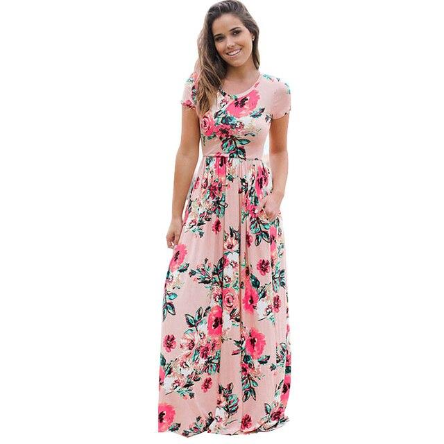 Maxi Jurk Met Korte Mouwen.Korte Mouwen Print Bloemen Roze Grote Bloem Lange Maxi Jurk Vrouwen