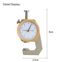Thickness Gauge Tester Gift Dial Metal Silver Yellow Craft Width Measurement Micrometer Analysis Tool Leathercraft Leather