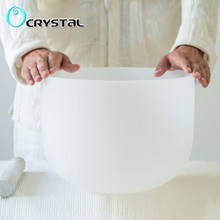 Yeni 10 inç beyaz renk C D E F G A B meditasyon buzlu kuvars kristal şarkı söyleyen kase 10