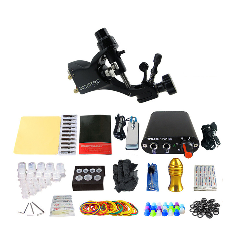 Complete Tattoo Kit Professional 1Pcs Rotary Tattoo Machine Gun Power Supply Needles Tips Grips Tattoo Supplies For Body Art europe god of darkness robert recommend gp self lock grips gp3 professional tattoo artist grip