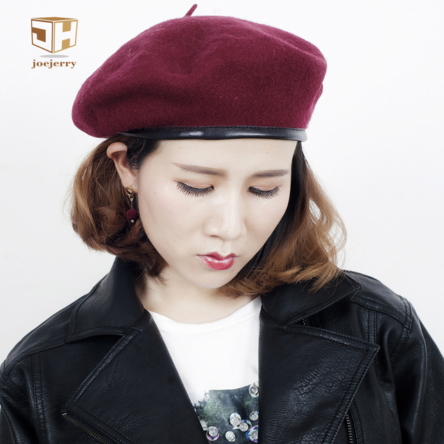 JOEJERRY Wool Beret Female Leather Beret French Hat Military Flat Cap For  Women Winter Autumn Spring 3b9bc0e8477