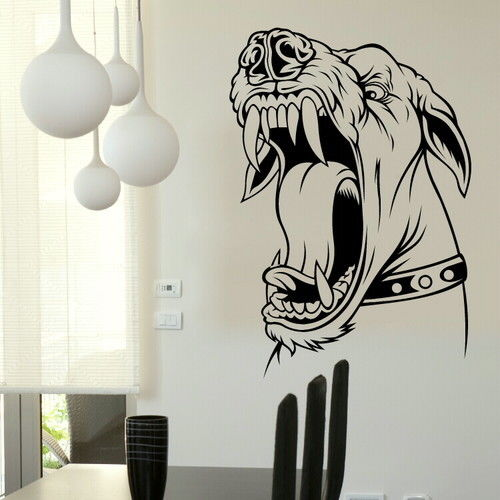 Aggressive Snarling Dog Wall Stickers Interior Decor Dog Wall Art Tattoos Home Decor Mural