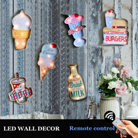 Vintage LED Light Sign Retro Plaque Hanging Metal Painting Decorative Wall Decoration for Pub Bar Neon Sigh Shop Signboard