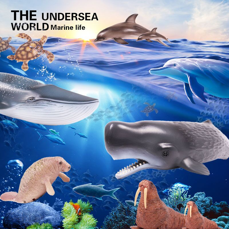 Oenux Original Underwater World Sea Life Animals Dolphin Shark Whale Turtle Ocean Animals Model Action Figures Toys For Kid Gift zxz 8 type amazing marine organism animals model toy classic plastic whale shark dolphin sea lions toys for boys collection gift