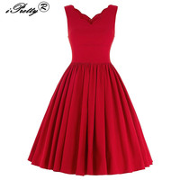 Sexy Scalloped V Neck Hepburn Style 50s 60s Rockabilly Dress For Women Sleeveless Pleated Ball Gown