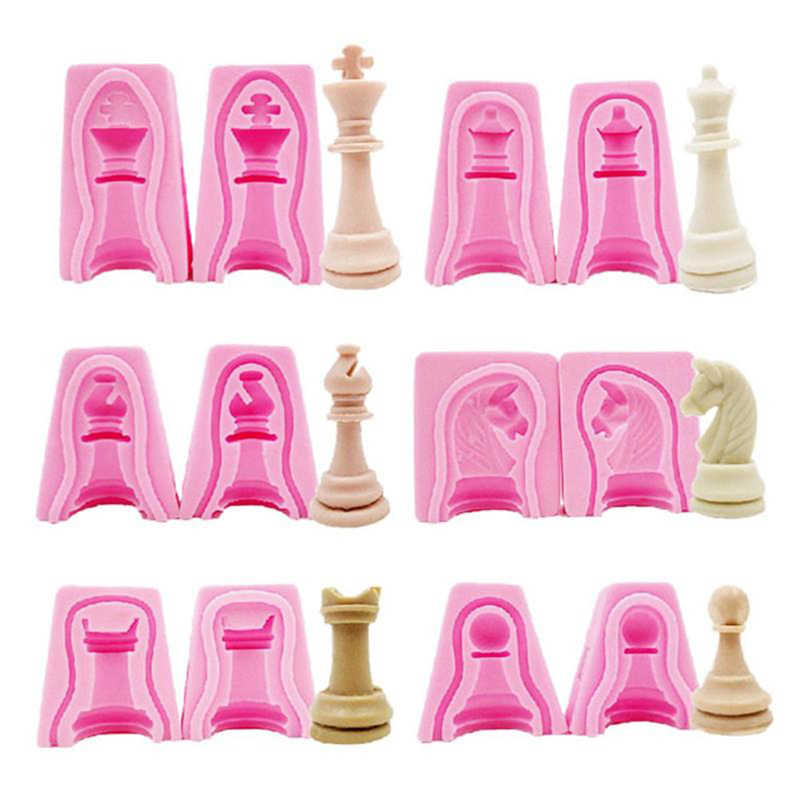 2PCS/Pack 3D Chess Shaped Chocolate Mold DIY Chocolate Jelly Candy Pastry Soap Mould Cake Decorating Kitchen Baking Tools Gadget