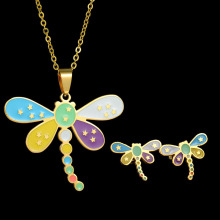 Eleple New Dragonfly Stainless Steel Necklace Ear Nail Sets for Female Unique Colorful Party Gifts Jewelry Set Wholesale S-S027
