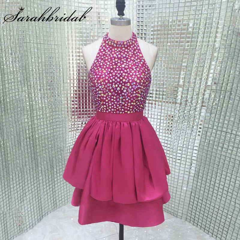 Sexy Backless Cocktail Dresses hot High Neck Sparkly Cystals Beaded Short Teens Short Prom Party Gowns Real Photos LX281