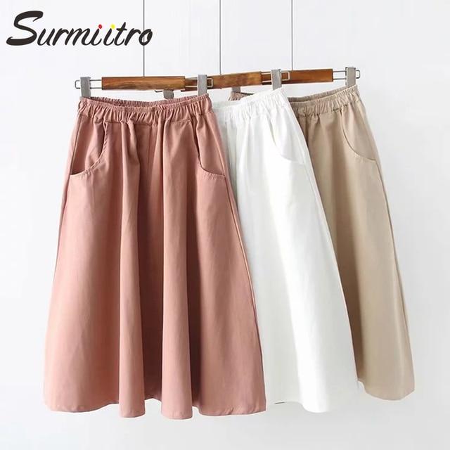 Surmiitro 100% Cotton Midi Summer Skirt Women 2021 Fashion Korean Pocket A-line Sun School Black White High Waist Skirt Female 3