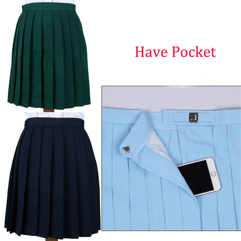 Women College Solid Color Pleated Skirts Candy Color Cosplay Jk Uniform Hot Sales Harajuku Style Lolita Skirt Adjustable Pocket