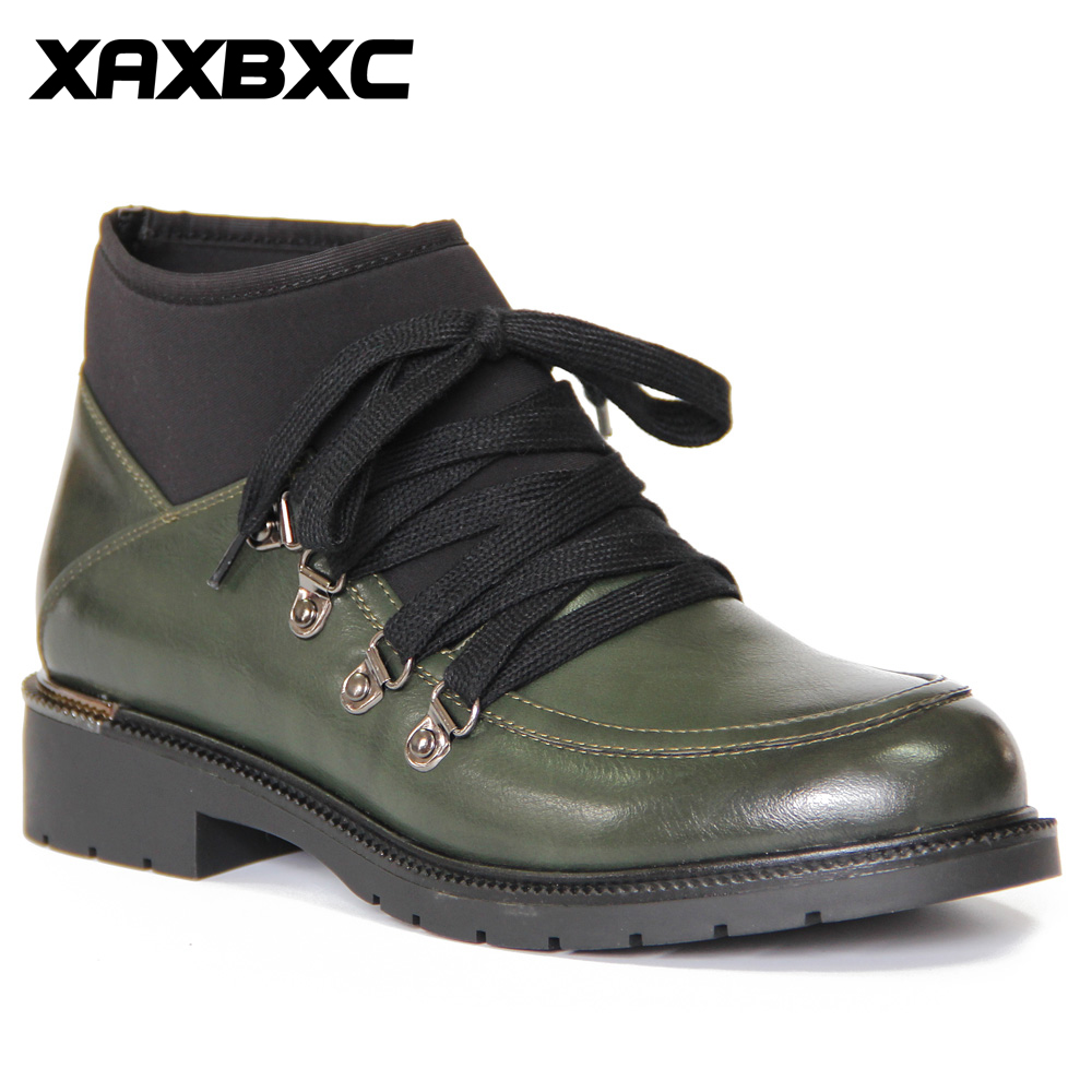XAXBXC Retro British Style Leather Brogues Oxfords Short Boot Women Shoes Green Lace Up Round Toe Handmade Casual Lady Shoes