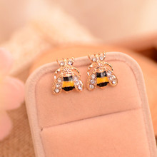 Sale Cute Women Golden Small Bee Crystal Insect Stud Earrings Jewelry Gift qiming gold silver adorable bumble bee insect shaped stud earrings animal jewelry for women girl gift stud earrings