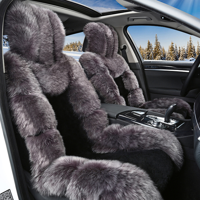 Winter Full Sheep Fur Cover Car Seats Covers Cushion Keep Warm And