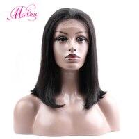 MS Любовь волос парики человеческих волос короткий боб парики для черный Для женщин бразильский Волосы remy Синтетические волосы на кружеве ч