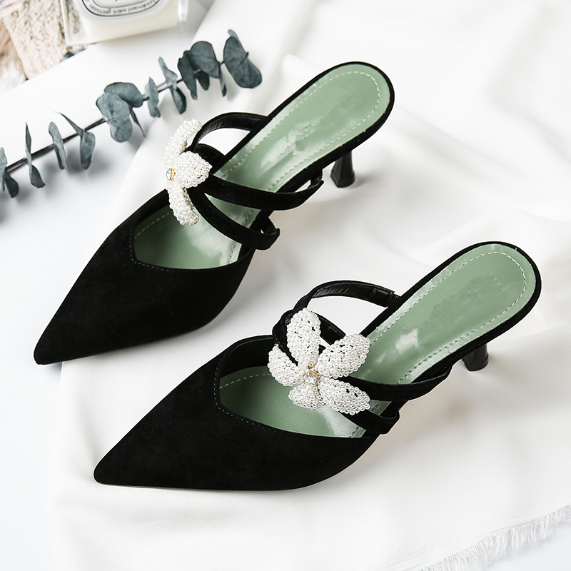 Women Slipper Flower Decor Women Pumps High Thin Heel Pointed Toe Lady Girl Chic Runway Star Party Wedding Shoes Solid Shoes Hot new genuine leather superstar solid thick heel zipper gladiator women pumps pointed toe office lady nude runway casual shoes l88