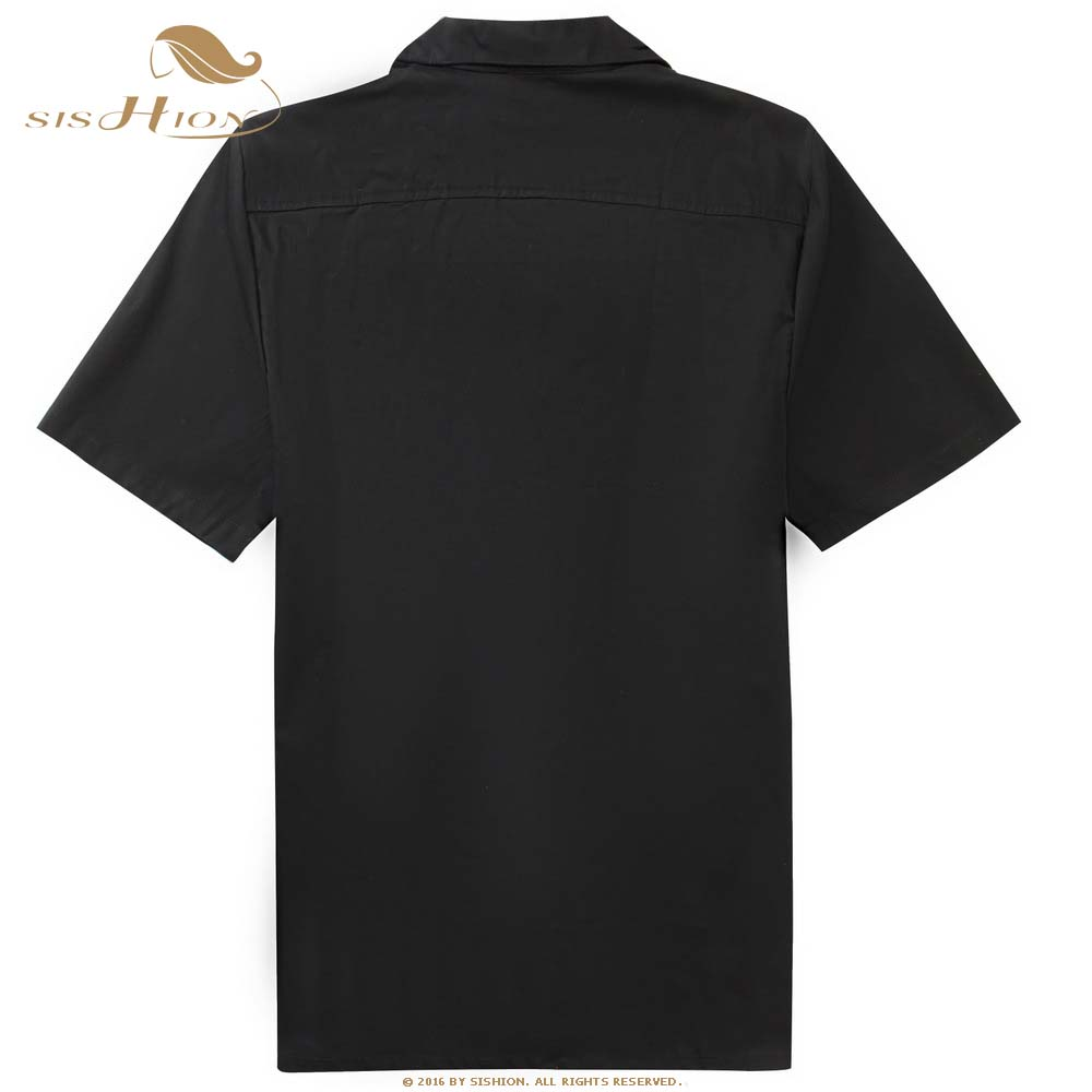 Image 2 - SISHION L 2XL Plus Size Men Shirt ST110 Short Sleeve Black Red Rockabilly Cotton Casual Bowling Shirts for Men camisa masculina-in Casual Shirts from Men's Clothing