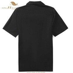 SISHION L-2XL Plus Size Men Shirt ST110 Short Sleeve Black Red Rockabilly Cotton Casual Bowling Shirts for Men camisa masculina 2
