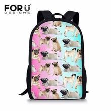 FORUDESIGNS Pugs Animal School Bags For Teenage Girls 3D Printing Bookbag Women Rucksack Satchels Kids Soft Primary Schoolbag