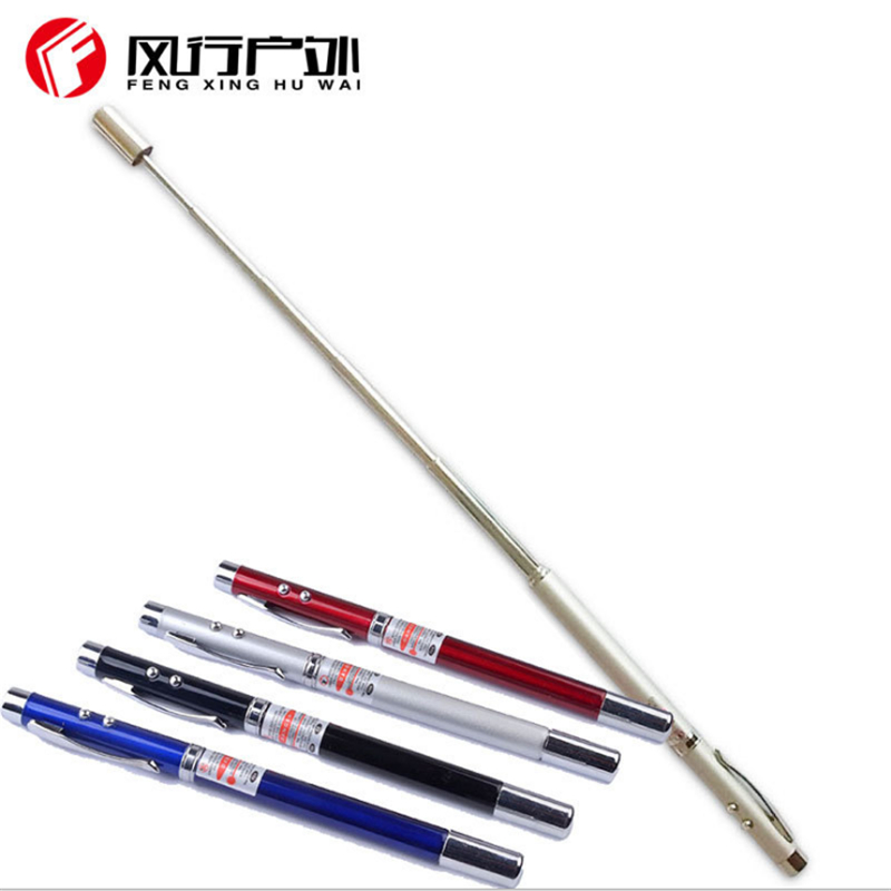 LED pen Flashlight telescopic baton truncheon Multi function laser pointer whip red laser pointer stick for teaching
