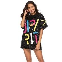 #1620 Summer Long Black Loose Punk Gold Blue Short Sleeve T Shirt Women O Neck Streetwear Hip Hop With Sequins