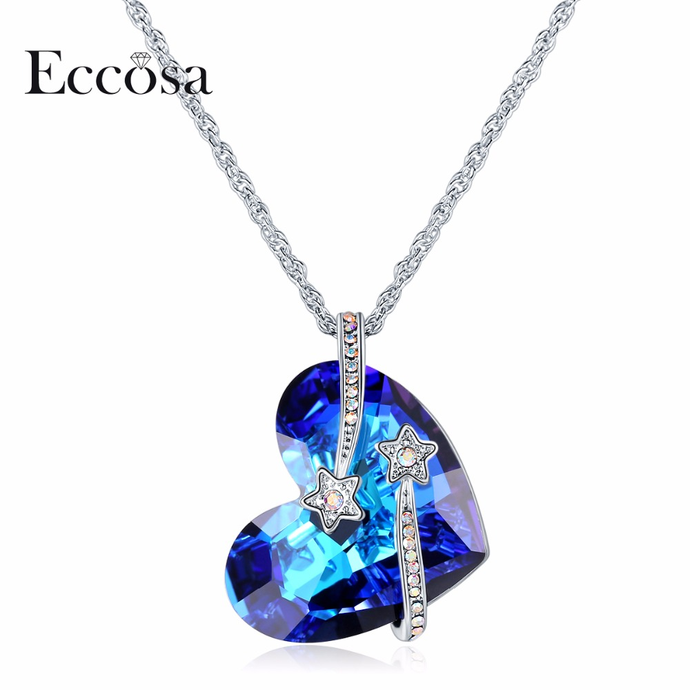 ECCOSA I love you to the moon and back Heart Necklaces & Pendants Sparkling Star Necklace Women Jewelry Crystal From Swarovski verne j from the earth to the moon and round the moon isbn 9785521057641