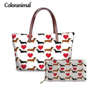 Coloranimal Dachshund Dog Women Large Capacity Handbag 3D Animal Print Brand Design 2Pcs Set Shoulder Bag Lady Leather PU Wallet(China)