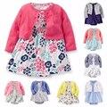 2017 new baby girl dress vestuário set manga comprida fina curto outwear 2 pcs dress macacão bebes menina de algodão macio