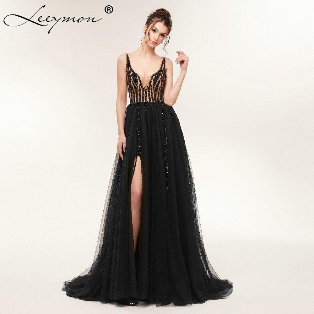 V-Ausschnitt Perlen Mieder Open Back A Line Split lange Abendkleid - Kleider für besondere Anlässe