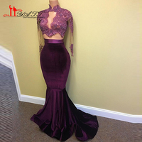 2017 Hot Velvet Prom Dress Sexy Mermaid Lace Appliques Beaded Sheer Dài Sleeves Sweep Train Evening Đảng Gowns Arabic