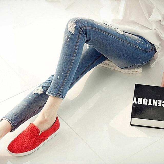 Plus size primavera verano otoño pantalones mujeres jeans denim agujero flaco elástico longitud del tobillo femenino