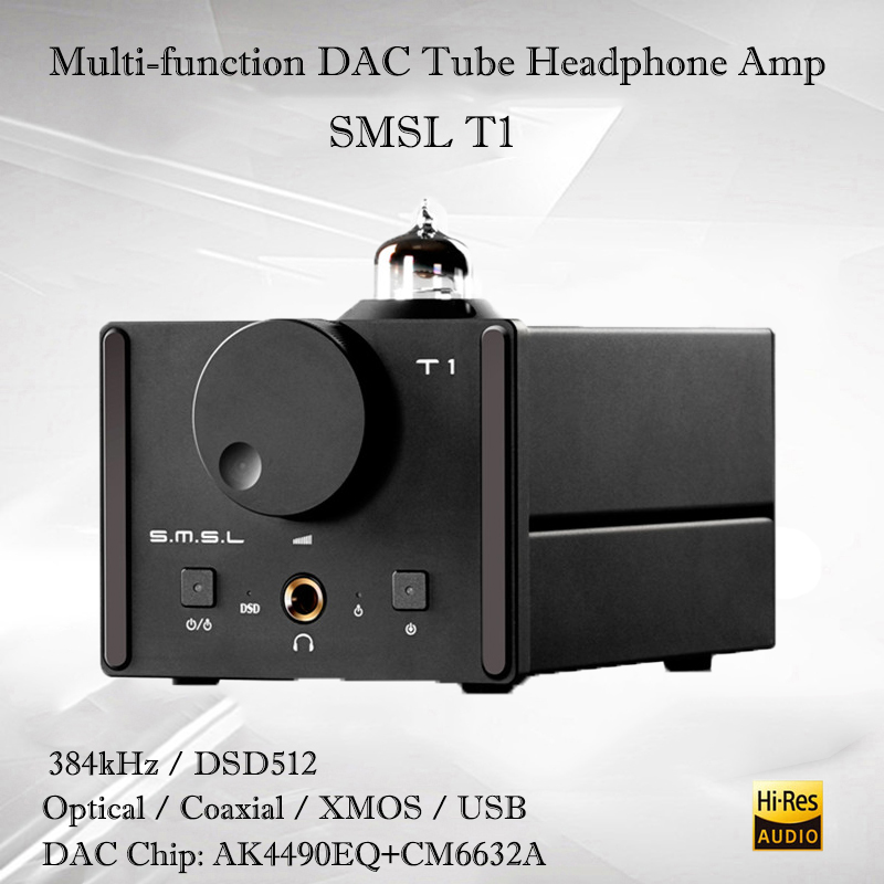 SMSL T1 usb dac audio decoder hifi headphone amplifier AK4490EQ portable headphone tube amplifier dac tube amplifier audio amp s m s l smsl t1 dac tube headphone amplifier preamplifier hifi exquis dsd 512 384khz xmos usb decoder pre amp earphone amp